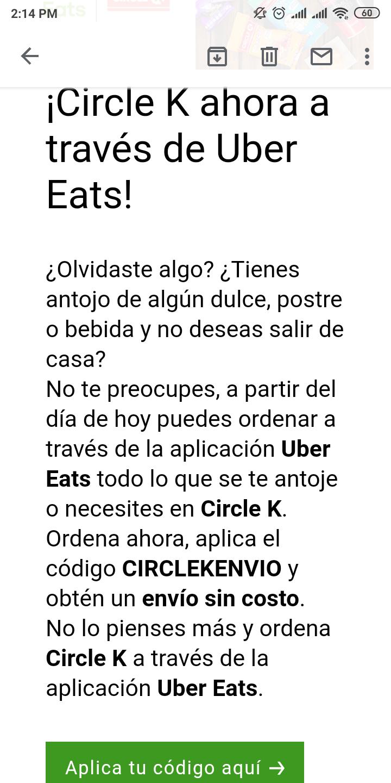 Uber EatsCircle K ahora a través de Uber Eats, cupón de envío sin costo