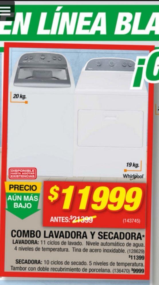 Home depot: Combo lavadora y secadora $10,799 con Banamex