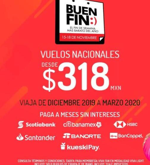 Promoción del Buen Fin 2019 en Vivaaerobus