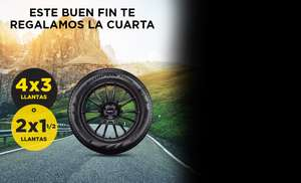 Buen Fin Pirelli: 4X3 en llantas