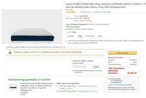 Amazon: COLCHON KING BLUE LUUNA