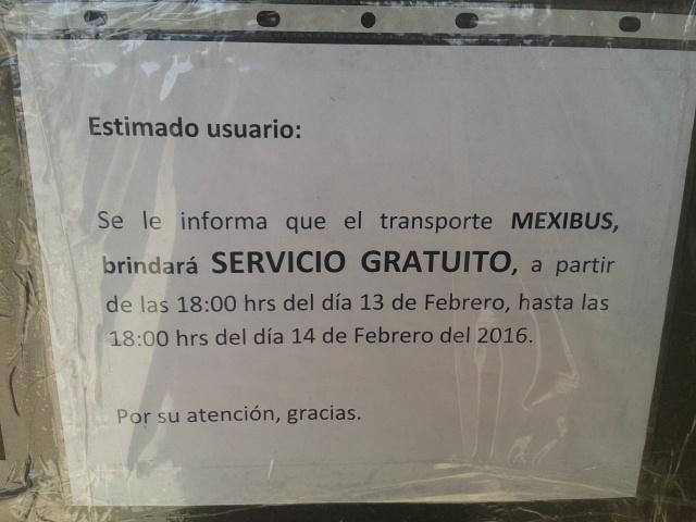 Servicio gratuito del Mexibus 13 de febrero