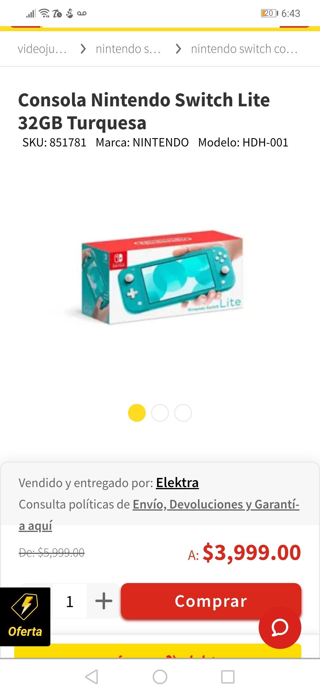 Elektra: Nintendo Switch Lite $3239 ya con la bonificacion estado de cuenta