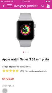 Liverpool en linea: Series 3 Apple watch -usando Banorte Digital TC