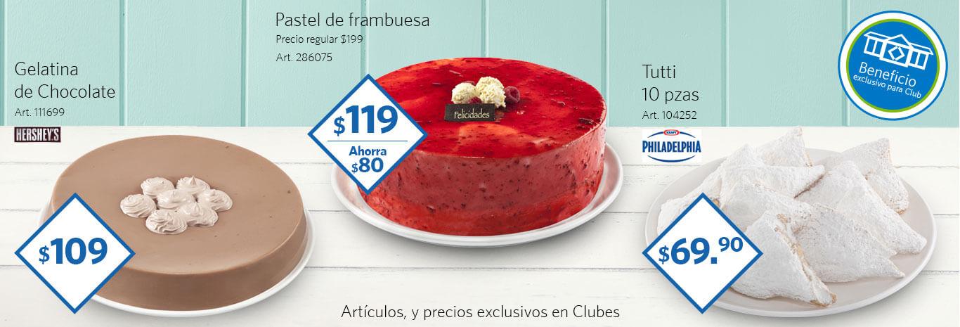 Sam's Club: Pasteles con descuento Tutti de Philadelphia a $69, Pastel de frambuesa a $119, Gelatina de chocolate a $109