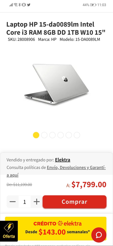 Elektra en línea:: LAPTOP HP INTEL i3 , 8 RAM , 1T DD + PES 19 PC