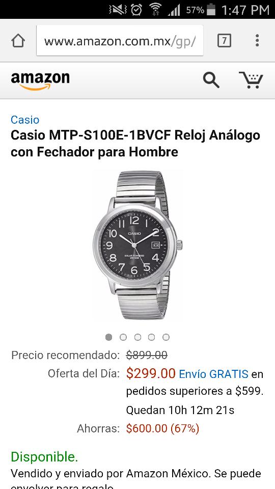 Amazon: Reloj con Fechador para Hombre Casio MTP-S100E-1BVCF