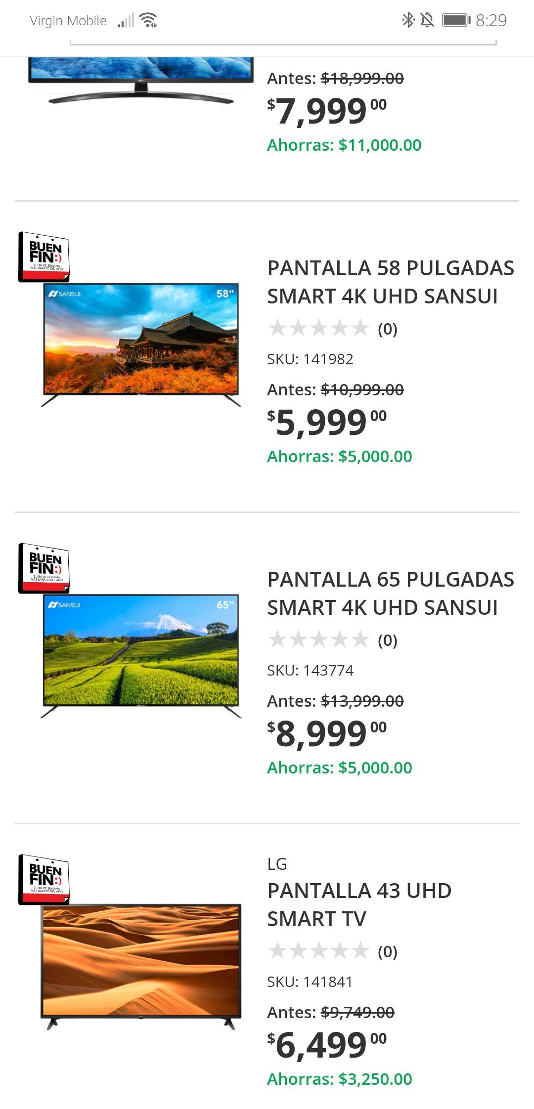 "Home Depot Pantalla SANSUI 65"" $8,999 ($6,300 con Banorte, $8,099 Banamex)"