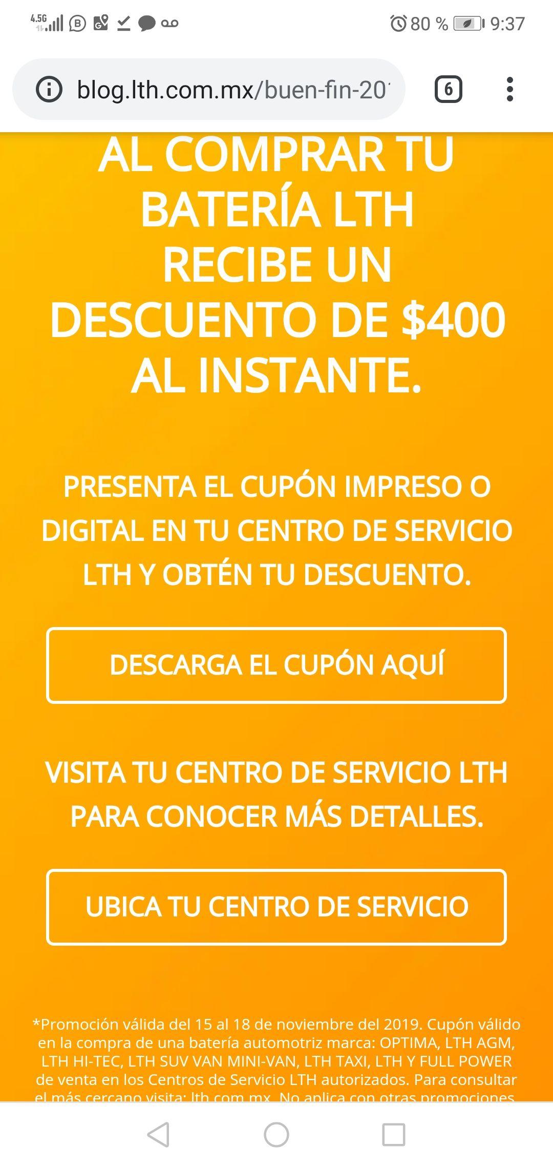 Ofertas Buen Fin LTH: Cupón de descuento de 400 pesos en la compra de una batería para auto