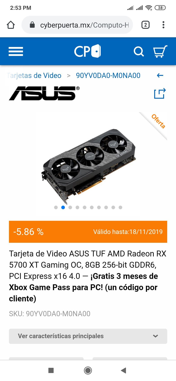 Cyberpuerta: ASUS TUF AMD Radeon RX 5700 XT Gaming OC, pagando con Banorte.