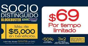 Blockbuster: membresía Socio Distinguido a $69