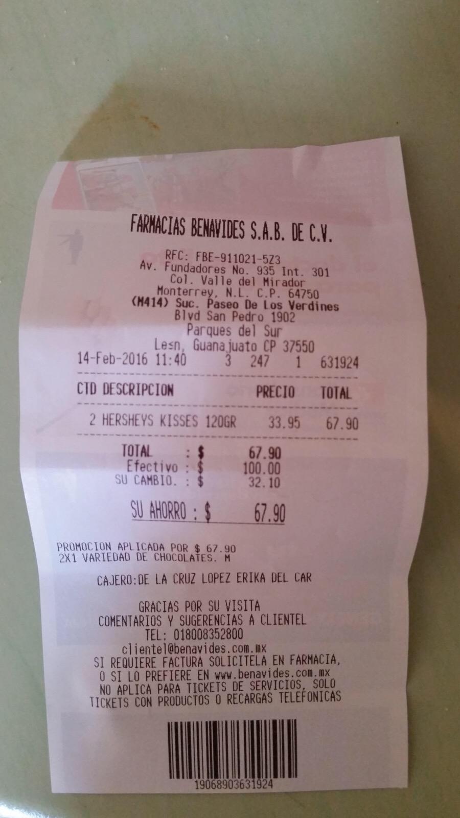 Farmacias Benavides: 3x2 en desodorantes y 2x1 en variedad de Kisses