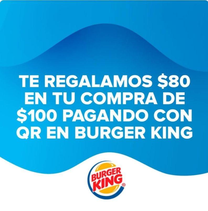 Mercado pago: descuento de $80 pesos en la compra de $100 en Burger King, Buen Fin.