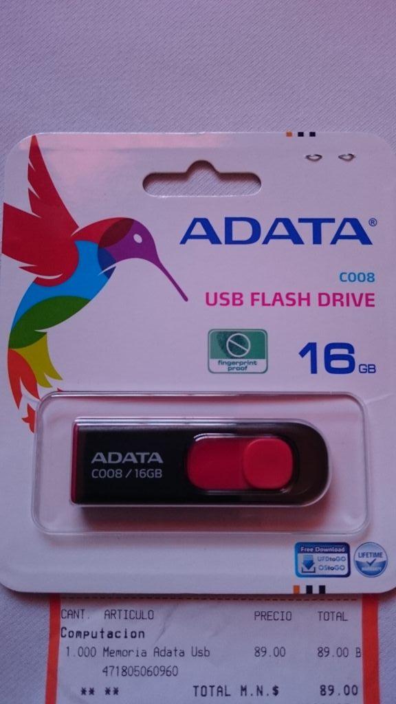 Chedraui: Memoria USB Adata 16Gb a $89