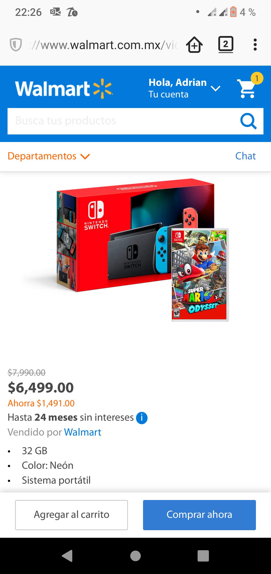 Walmart: Nintendo Switch con Juego Mario Odyssey