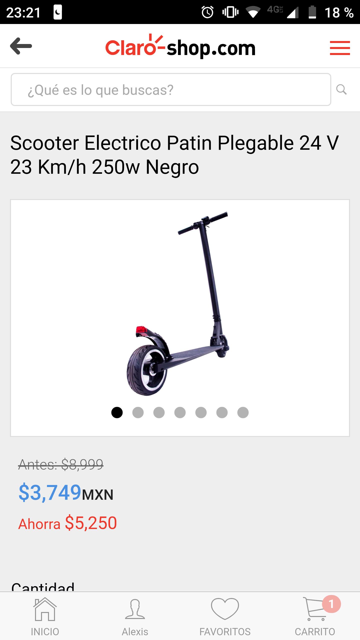 Claro Shop: Scooter Electrico Patin Plegable 24 V 23 Km/h 250w Negro
