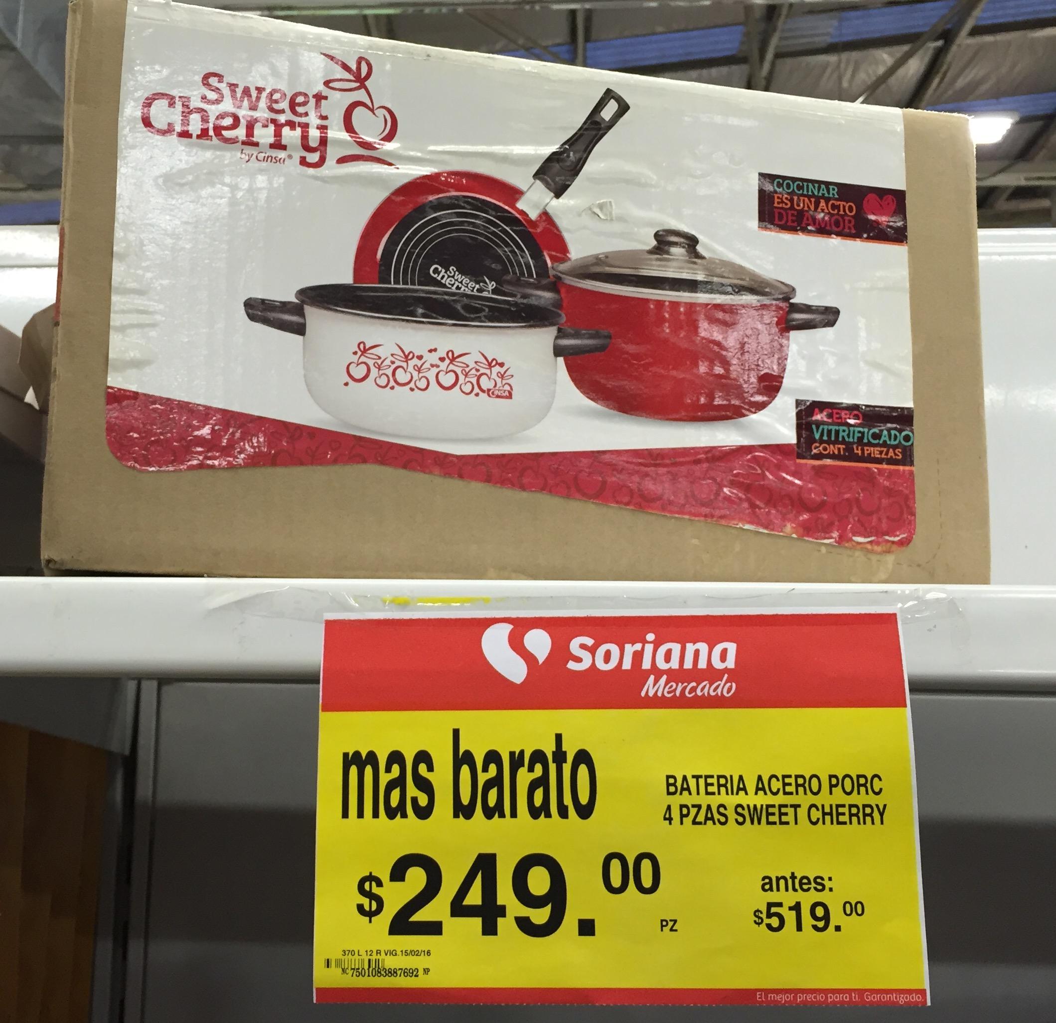 Soriana Mercado: Batería de Cocina, 4 piezas en $249