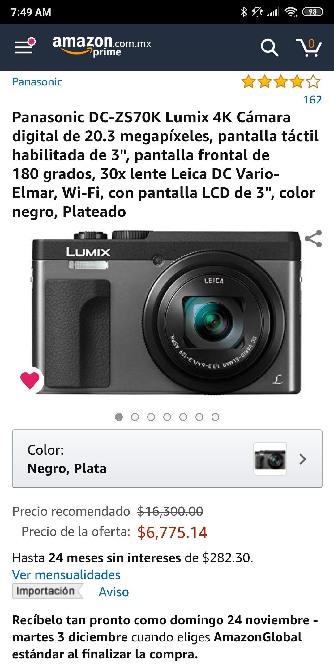 Amazon: Cámara Panasonic Lumix ZS70 precio muy bajo