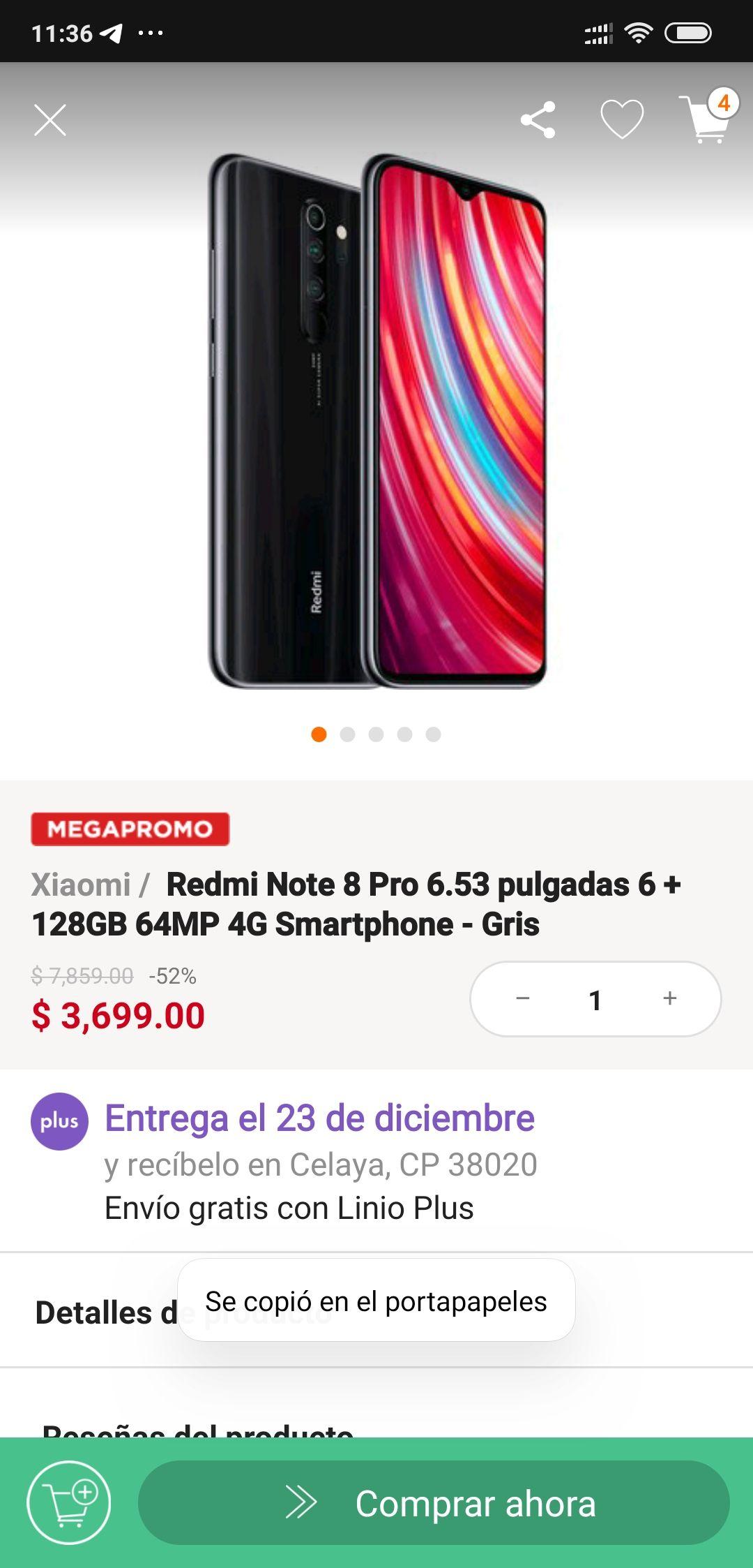 Linio: Redmi note 8 pro (pagando con Paypal)