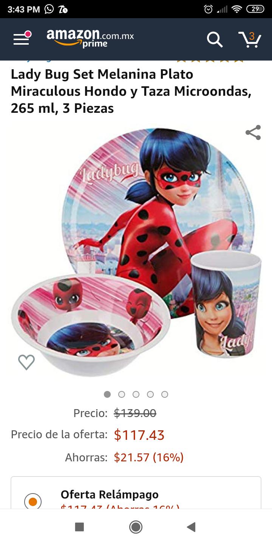 Amazon: Lady bug oferta relámpago, mini vajilla para niña.