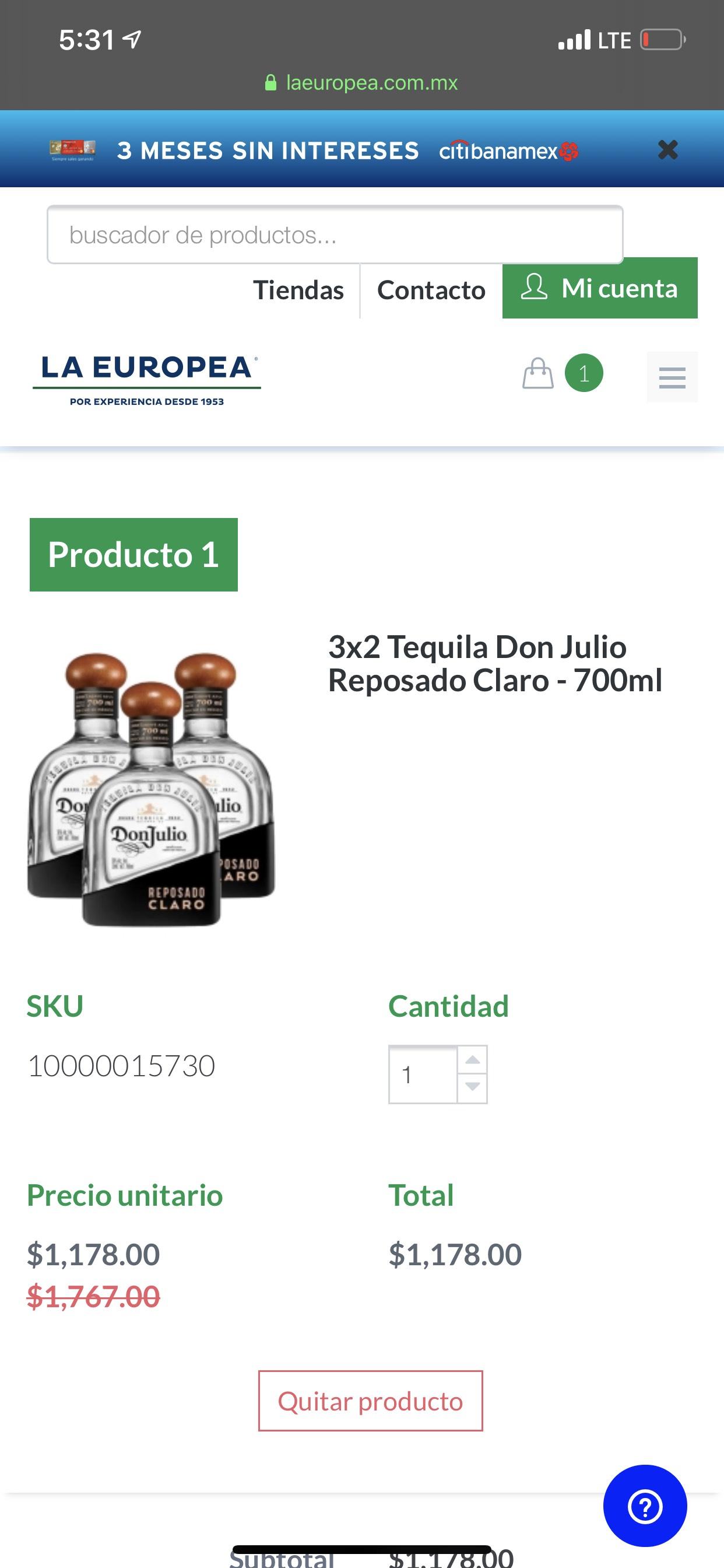 La Europea: 3 x 2 en Tequila Don Julio Reposado Claro de 700ml