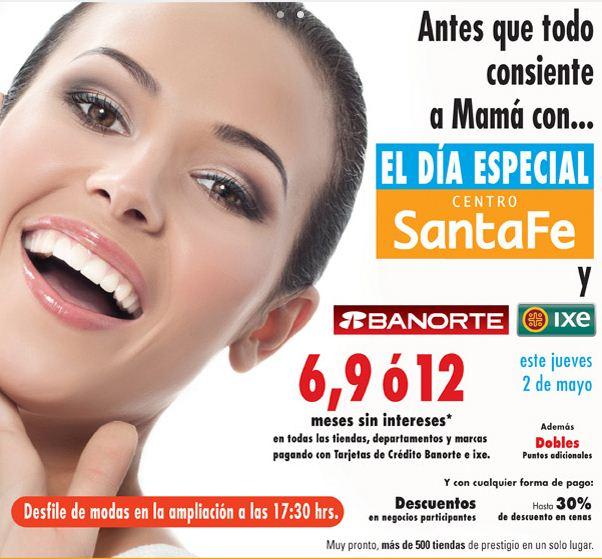 Día Especial en Centro Santa Fe 2 de mayo (Guess, Roxy, Italianni's, AX, etc)