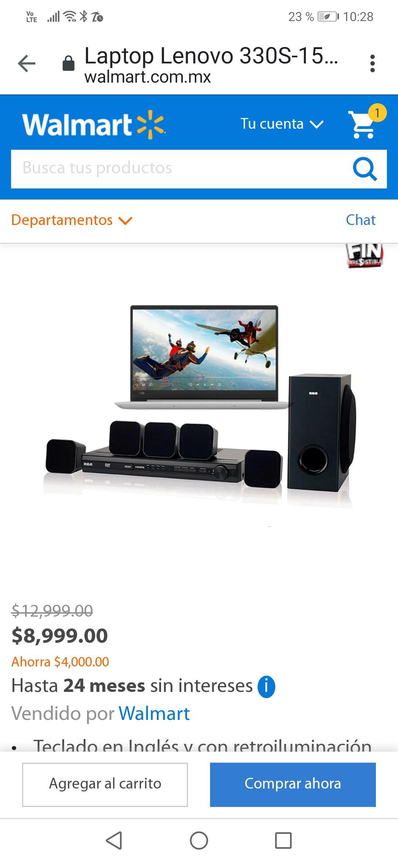Walmart en línea: Laptop Lenovo Ryzen 5 más teatro en casa precio directo menos promociones