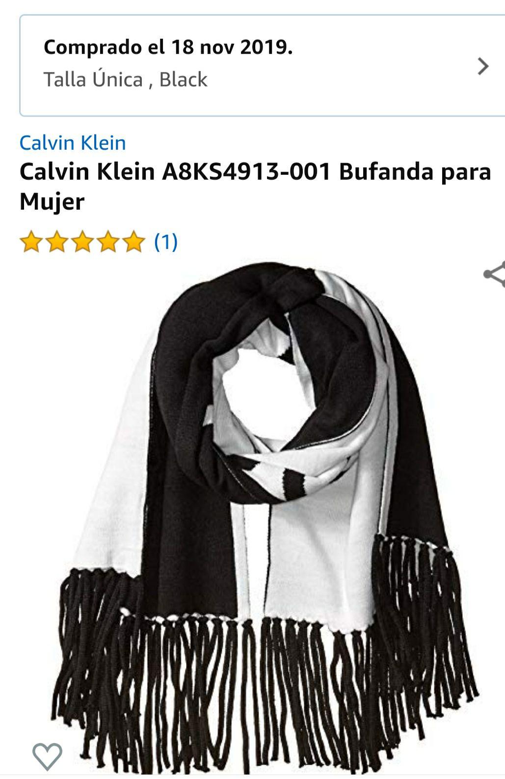 Amazon: Calvin Klein A8KS4913-001 Bufanda para Mujer