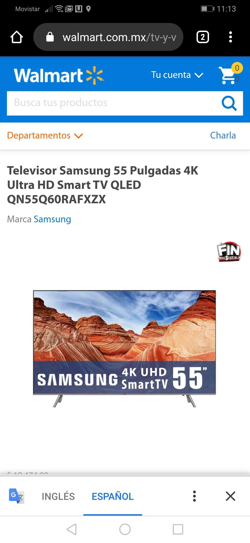 Walmart: TV Samsung 55 Pulgadas 4K Ultra HD Smart TV QLED QN55Q60RAFXZX (pagando con BBVA)