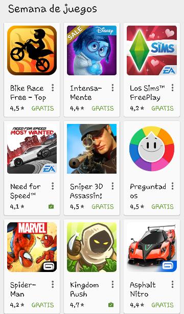 Semana de juegos en PlayStore con descuentos de hasta el 90%