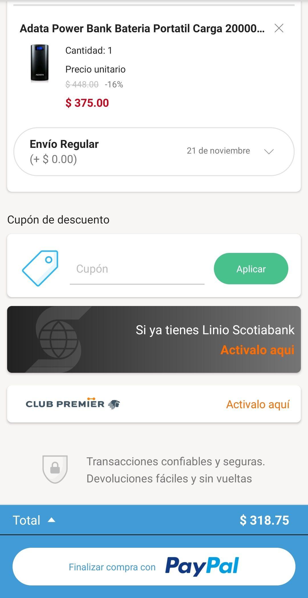 Linio: Power Bank Adata 20000 mAh + envío gratis pagando con Paypal