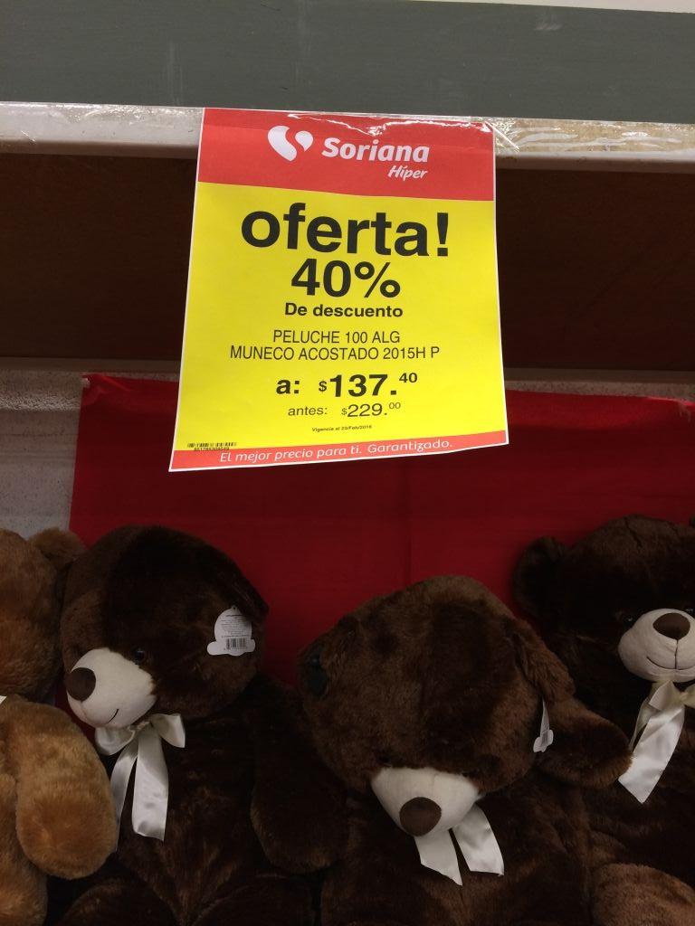 Soriana: liquidación de peluches de San Valentín con 40% de descuento