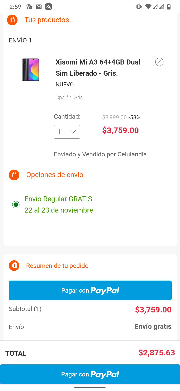 Linio: Xiaomi Mi A3 4/64 GB Envío nacional Paypal + Cupón