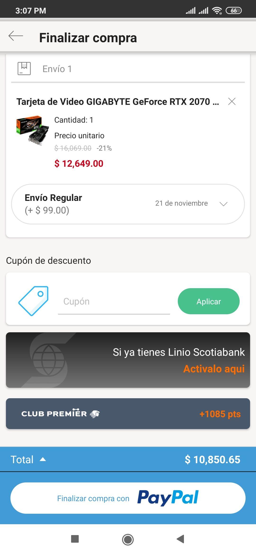 Linio: Gigabyte RTX 2070 Super pagando con Banorte