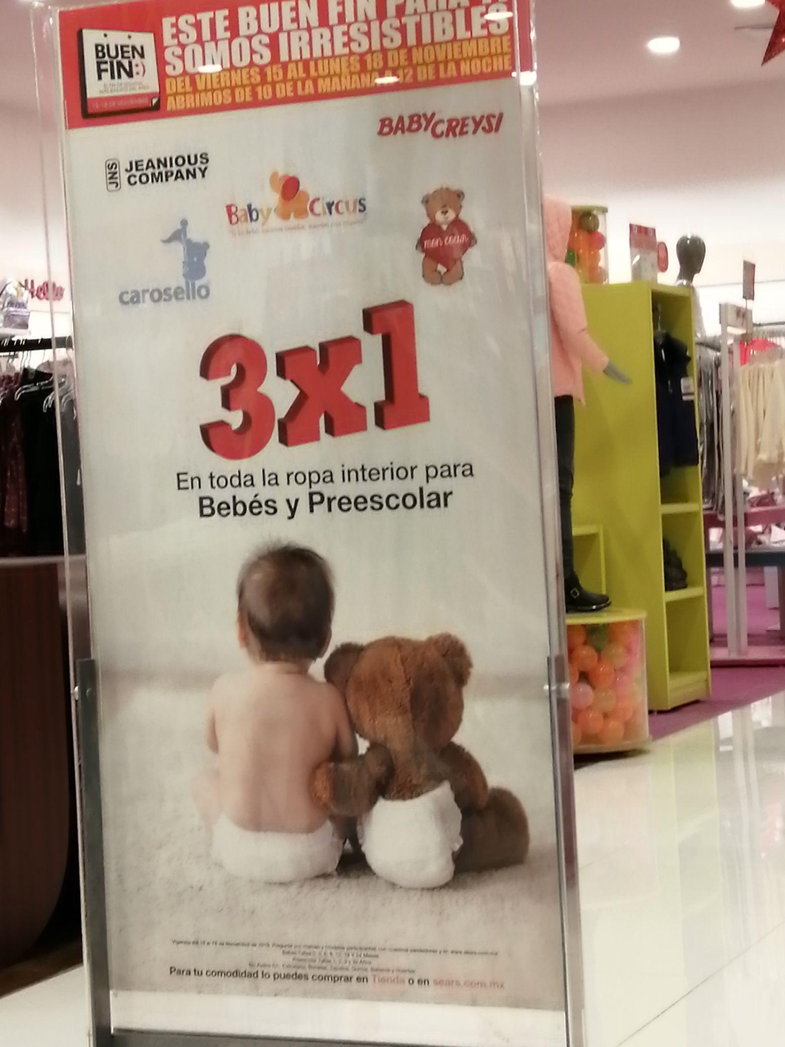 Sears: Ropa de bebé al 3x1