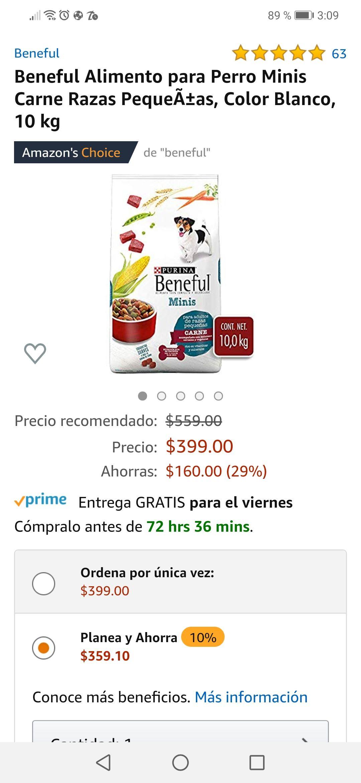 Amazon: Beneful Alimento para Perro Minis Carne Razas Pequeñas 10 kg (comprando 4 con Planea y ahorra)