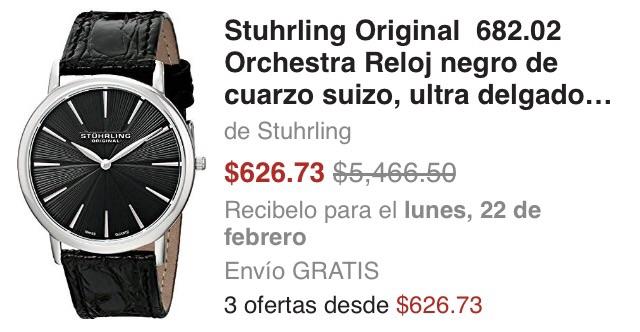 Amazon USA: Reloj Stuhrling Original 682.02 Orchestra negro de $5,466 a $626.73