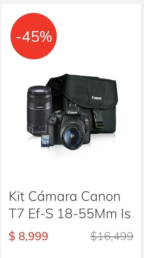 CLAROSHOP: Kit Cámara Canon T7 con 45% de descuento