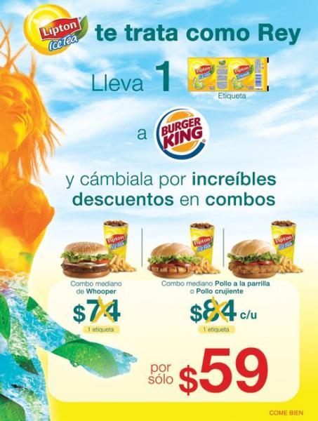Burger King: descuentos llevano etiqueta de Lipton Ice Tea