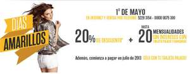 Venta especial Palacio de Hierro mayo 1: 20% de descuento y 20 MSI