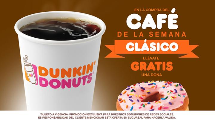 Dunkin Donuts: dona gratis comprando café clásico