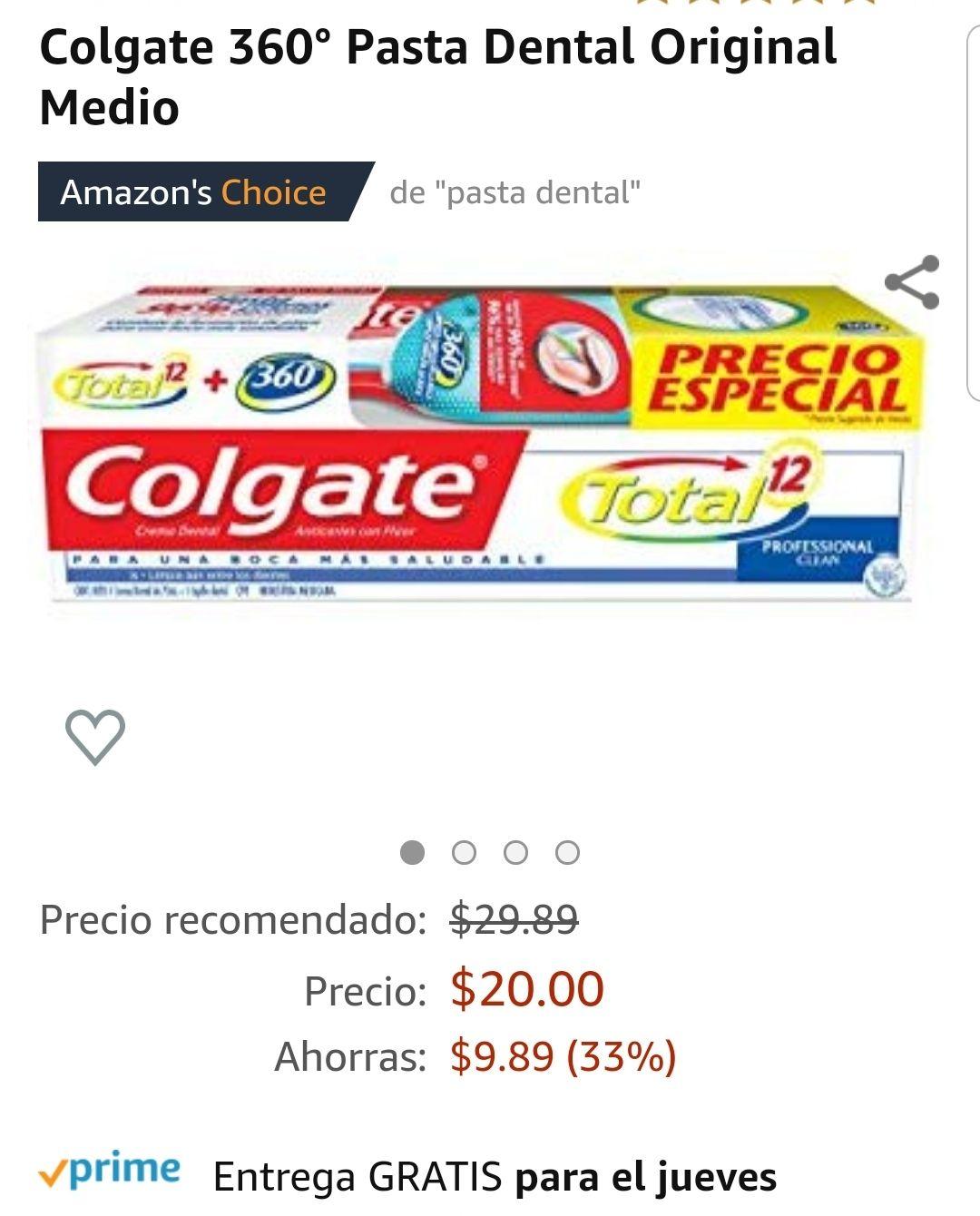 Amazon: Pasta Total 12 y Cepillo