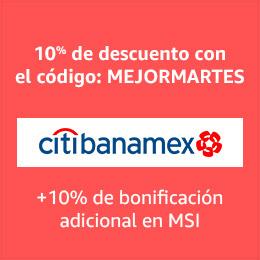El Mejor Martes en Amazon: Cupón 10% de descuento adicional al 10% de bonificación con Citibanamex