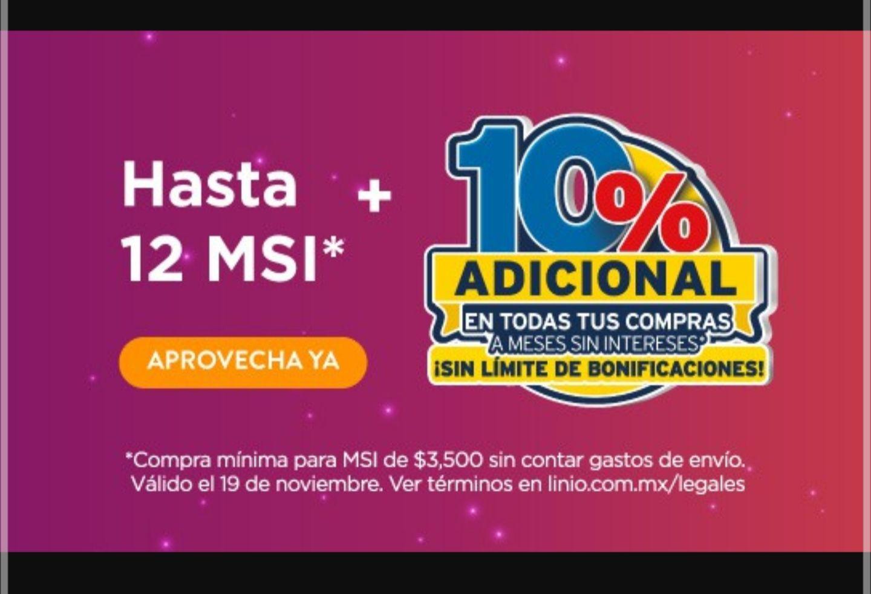 Linio: Mejor Martes Citibanamex. 10% bonificación en Estado de cuenta y 12 MSI compras mayores a $3500