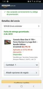 Amazon: Xbox One X 1TB + Forza Horizon 4 y Lego DLC - Bundle Edition (con Citibanamex)
