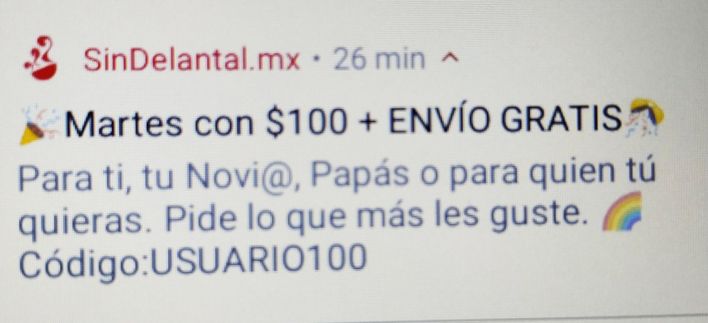 SIN DELANTAL CUPÓN DE -100 PESOS PARA USUARIOS NUEVOS