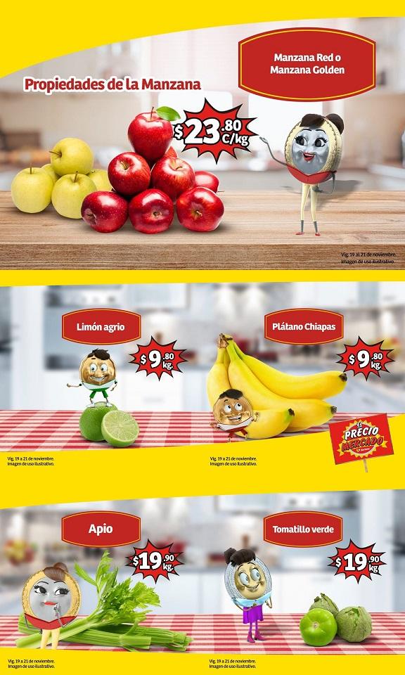 Soriana Mercado y Express: Limón Agrio $9.80 kg... Plátano Chiapas $9.80 kg... Manzana Red ó Golden $23.80 kg.