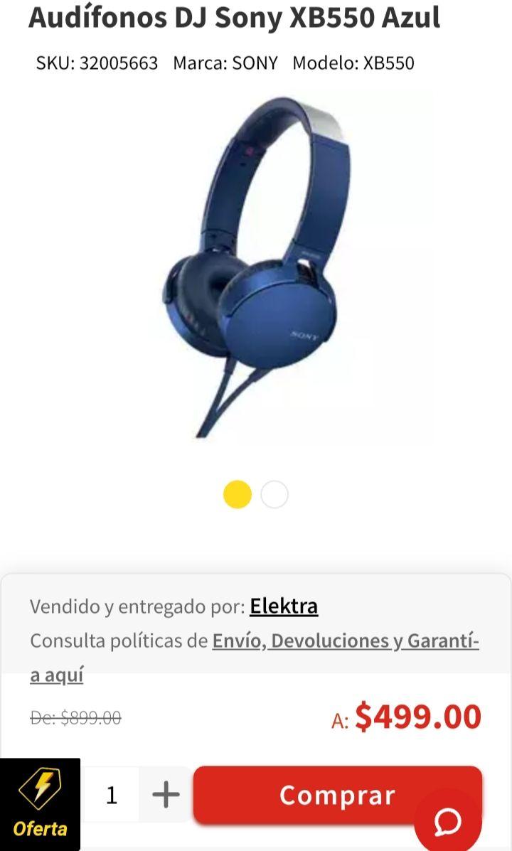 Elektra: Audifonos Sony Extra Bass.