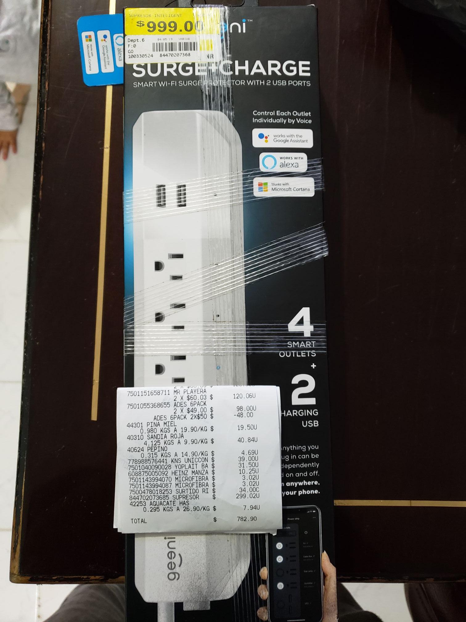 Walmart plaza oriente: Geeni, multicontacto 4 salidas protegidas y 2 usb, funciona con voz y WiFi