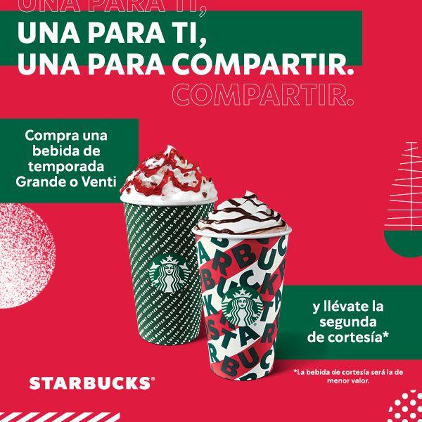 Starbucks: 2x1 en Bebidas Grandes/Venti de Temporada